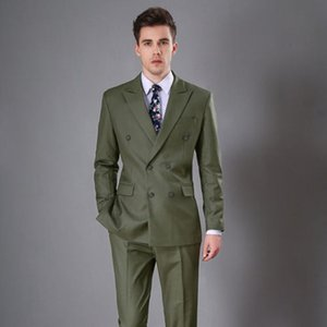 Green Men Army Wedding Suit Partido Prom Groomsmen smoking Casual Work 2 Piece Set personalizado (Jacket + calças) .132