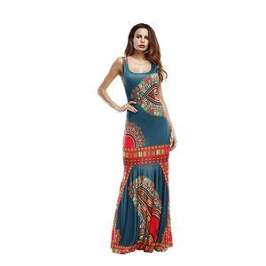 Mujer Ropa sin tirantes maxi ocasional de la impresión de las mujeres vestidos de verano de las señoras atractivas del vestido sin mangas de la playa con cuello redondo trompeta