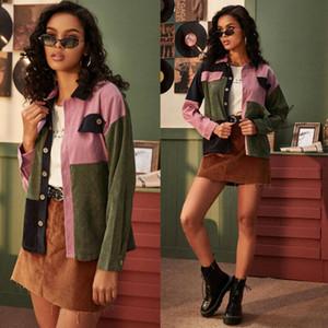 2019 precoce delle donne di autunno cappotto velluto a coste Bottoni Giacca tasche della giacca corta Puff manica lunga Outwear strisce variopinto Top