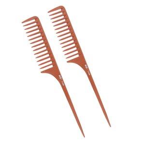 مجموعة من 2 الاسنان واسعة مكافحة ساكنة تصفيف الشعر تصفيف الشعر قص الشعر لفك تشابك الشعر واسع الذيل البلاستيك الجرذ Comb- 27CM براون