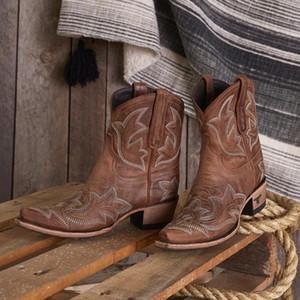 Nakış botas mujer Kadınlar Kama Yüksek Topuk Boots Snake için Sahte Deri Kovboy Bilek Boots 2020 Batı Cowgirl yazdır