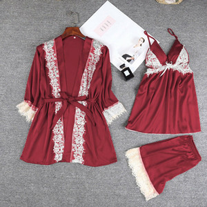 Summer Fashion 3 pieces Women Silk Satin Pajamas Pyjama Set Sleepwear Summer Nightwear Charm Gown Sets