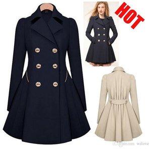 Le donne elegante cappotto caldo Slim Fit doppio Giacca Trench lungo abito stile Outwear Sweety Lady Cappotto Peacoat Casaco Feminino