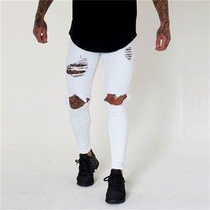 Vita bassa foro Mens jeans nuovi dei jeans dei pantaloni della matita di arrivo lavato Primavera Skinny Uomo sportivo Pantaloni
