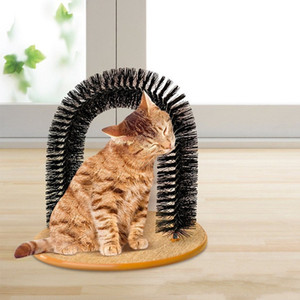 Good Arch Pet Cat Self Groomer Tool with Round Fleece Base Cat Brush Toys Scratching Devices Cat Jenga Game