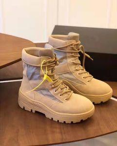 Brand New Combat Boots Сезон 4 Песок из натуральной кожи Kanye West New York Street Combat High-топ Шнуровка Люкс Панк Boots обувь