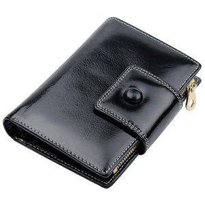 Belle2019 Leather Genuine Oil Wax Woman Short Fund Wallet Facebook Purse Card Hand Take Package