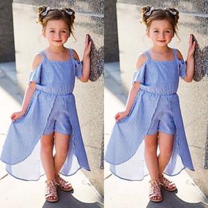 Cabritos del niño de la niña rayada del hombro del vestido del tutú de los bebés de la princesa verano sunsuit suelta mini vestidos Vestido de tirantes Vestidos