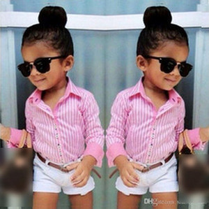 Kızlar Çizgili Uzun kollu Gömlek Beyaz şort Bel 3 çocuk Suit Pembe Çizgili Fan 3 Set kid301