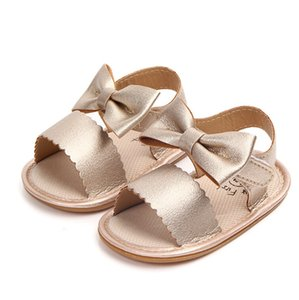 Summer Newborn Infant Baby Girls PU Leather Bowknot Sandals Princess Party Gold White Anti-Skid Rubber Sandals Shoes
