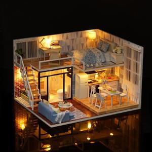 1 12 Diy 3D Doll House Toy Children Handmade Wooden Led Light Assemble Furniture Miniatura Miniature Model Crafts Doll Jouet