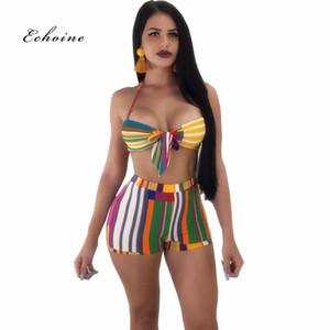 Echoine Frauen Sexy Zweiteiler Streifen Gedruckt Anzug Verband Bikini Tops Trägerlos Ärmellos Kurze Hosen Elastische Strand Outfits Y19062201