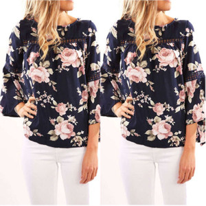 Été Femmes Boho longues manches Flare Floral vrac Blouse Chemises Top Tenues Vêtements Party Beach Club Mini Sundress Shirt Vêtements