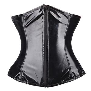 Black Satin Boned Waist Trainer Corsets and Bustiers Wedding Dress Underwear Sexy Lingerie Hot Sale Y200706