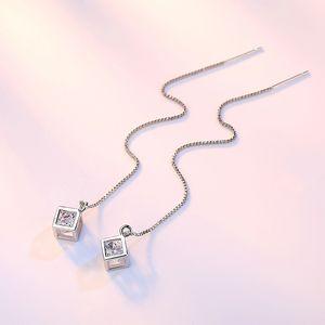 Luxury Designer Box Tassel STED Серьги Мода Ювелирные Изделия 925 Стерлинговые Серебро Длинные Штабы Для Женщин Девушка Brincos Ювелирные Изделия Bijoux Подарок