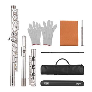 Muslady 17-Loch Konzert C Querflöte Offene / geschlossene Porenblasinstrument mit Reinigungstuchhandschuhen Mini-Schraubendreher