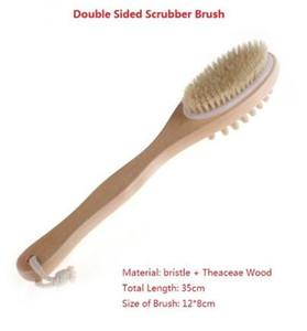 أدوات الحمام الملحقات 2 في 1 فرشاة الجسم من جانب شعيرات طبيعية الغسيل مقبض طويل من سبا خشبي فرش تدليك دش
