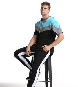 Gevşek Spor Giyim Erkek Kasetli Kontrast Renk Tshirts Yaz Tasarımcı Kısa Kol Kapşonlu Boyun Tees erkekler