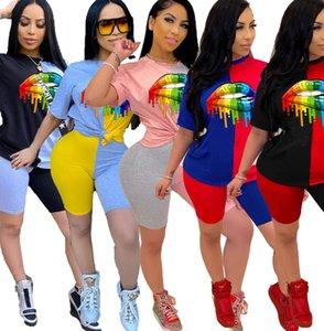Women Color Block Patchwork 2 Piece Outfits Rainbow Lips Designer Tracksuit Big Lips T-shirt Pullover Tops + Shorts Sets Sport Suit D52207CZ
