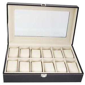 Grande 12 ranuras Caja de reloj de cuero de PU de alto grado Exhibición de la joyería Caso de la caja Organizador Titular Color negro