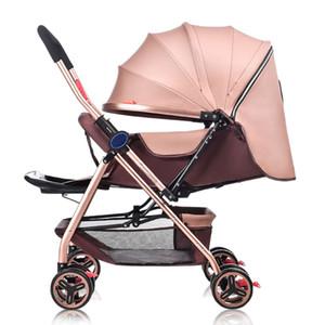 Ультра легкий четырехколесный детская тележка складной двунаправленный толчок ручка может сидеть лежать новорожденный коляска портативный коляска коляска 0~3Y