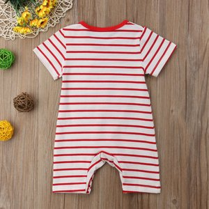 2018 Brand New Newborn Infant Baby Boy Girl Dinosaur Romper Short Sleeve Striped Cartoon Print Jumpsuit Romper Outfit Clothes