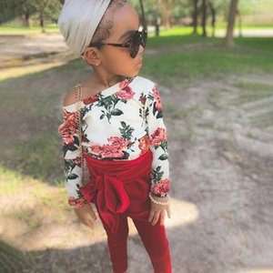 Baby's Set Two Piece Girls Full Body Floral Long Sleeved Bodysuit Solid Color Trousers
