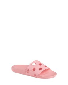 antes del otoño de 2019 para mujer diseñador de moda ahuecado logotipo patrón piscina deportiva sandalias de goma sandalias niñas pisos zapatillas