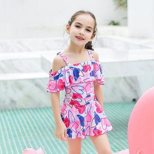 ملابس الأطفال الجديد أزياء لطيف فتاة من قطعة واحدة اللباس ملابس السباحة ملابس السباحة فتاة الحجم الكبير