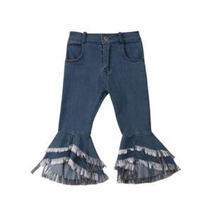 2-7A Moda Infantil Bebê Menina Borla Jeans Longo Denim Calças Queimado Sino-fundo Calças Roupas Meninas
