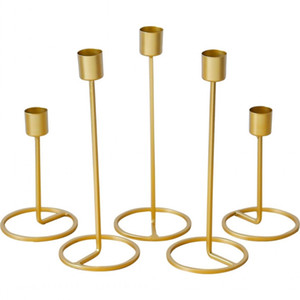 Titular de vela de estilo nórdico de oro de una sola cabeza de hierro geométrico 3D candelabro romántico decoración de la mesa decoración del hogar de la boda creativa