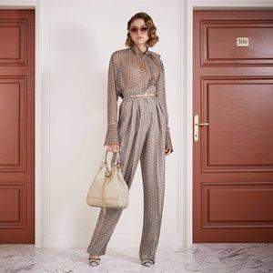 FF 100% de seda 2020 Summer Collection alta calidad de lujo marca italiana de Milán de diseño del monograma de impresión Pantalones