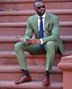 Enfriar ejército de la manera de lino verde juego de los hombres atractivos del partido de baile del smoking para hombre del estilo ocasional trajes ropa de trabajo diario (Jacket + Pants + Tie)