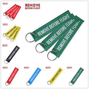 Вышивка REMOVE BEFORE FLIGHT Keychain воздуха Подвеска Двойной Letters Этикетка Metal Circle Key Chain Ring для багажа Рюкзак Подвески E22101