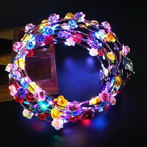 Светодиодная мигающая пена цветок повязки повязки хэллоуин рождественские свадьбы света цветочная гирлянда