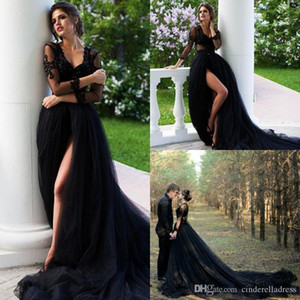 Sexy Rustic Country Style Gothic Black Wedding Dresses V Neck Illusion Lace Long Sleeves High Side Split Wedding Dress Bridal Gowns Vestidos