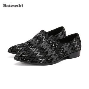 Batzuzhi Rhinestones Men's Shoes Pointed Toe Genuine Leather Dress Shoes Men Slip on Casual Leather Oxfords Shoes for Men, 38-46