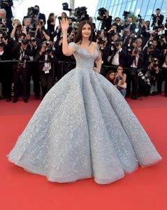 Dusty Bleu Off Shouder robe de bal robes de soirée luxe Taille Plus Quinceanera robe de bal Fait sur mesure Tapis rouge robes de soirée