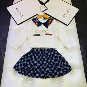 Kinder-Mädchen Mode-Frühlings-Herbst 2PCS Sets Pailletten Jumper Vlies mit Röcken Kinder Prinzessin Einzelhandel Sets Kleidung