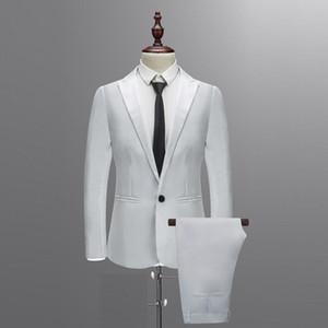 Trajes personalizados formales para hombres blancos Esmoquin de boda Casual Hombres Trajes de negocios más recientes Cena de moda Prom 3 piezas Blazer Vest Pants #