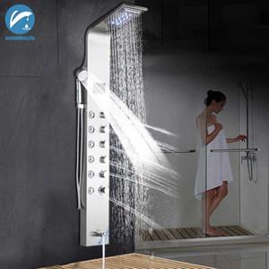 Duvar El Duş Sıcaklık Ekranı Duş Paneli Sütun Küvet Mikser Musluklu LED Nickle Banyo Duş Bataryası Fırçalı Mounted