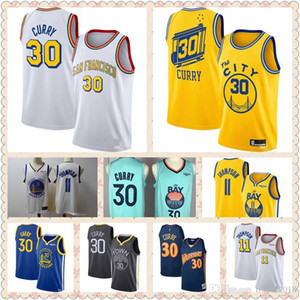 Men's Steph Stephen 30 Curry warriors jersey Golden State throwback DAngelo D'Angelo 0 Russell Klay 11 Thompson stitched basketball jerseys
