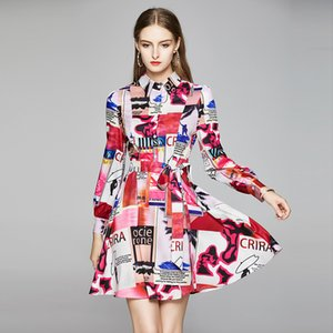 Runway Designer Letter Abstract Printing Short Dress 2020 Women's Long Sleeve Single-Breasted Slim Mini Dress With Belt k8507