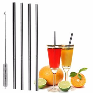 New 2019 DHL Durable Stainless Steel Straight Drinking Straw Straws Metal Bar Family kitchen free shipping