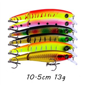 6 Color Mixed Multi-section Plastic Hard Baits & Lures 10.5CM 13G 4# Hook Fishing Hooks Pesca Fishing Tackle BLU_229