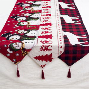 Natale Elk decorativo Runner Buffalo check tovaglia con nappa natale casa per feste Wedding le decorazioni JK1910