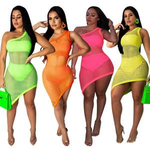3 pezzi a rete neon vestiti sexy abiti estivi per le donne una spalla aderente vestito da partito Clubwear spiaggia vestidos vestito trasparente a rete