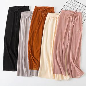 Женские брюки каприз летом свободно прочная высокая эластичная талия шифон широкая нога случайные палаццо кулоты элегантные брюки для женщин Drawstring