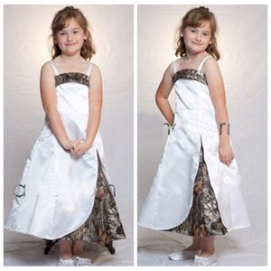 White Satin Camo Flower Gilr Dresses Wedding Party Dress Teens Spaghetti Straps Slit Pageant Prom Evening Gowns Kids Cute