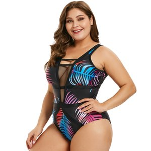 Wipalo donne Plus Size Openwork Foglia Stampa Swimwear sexy d'immersione del collo della maglia Pannello stampa tropicale di un pezzo insieme casuale Beach Wear